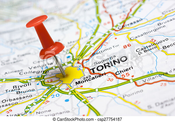 Torino On A Map Close Up Of Torino Italy On A Map With Red Pin