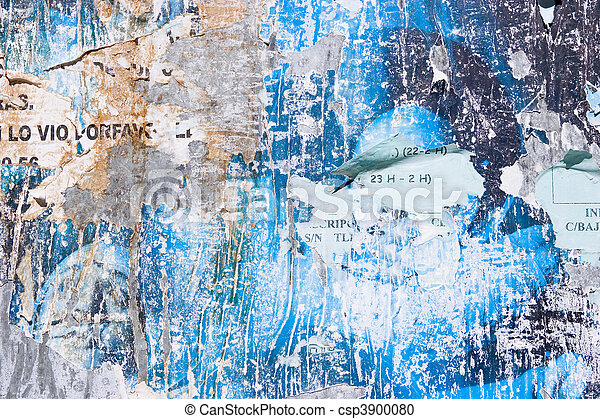 Torn Advertisement Background An Old Blue