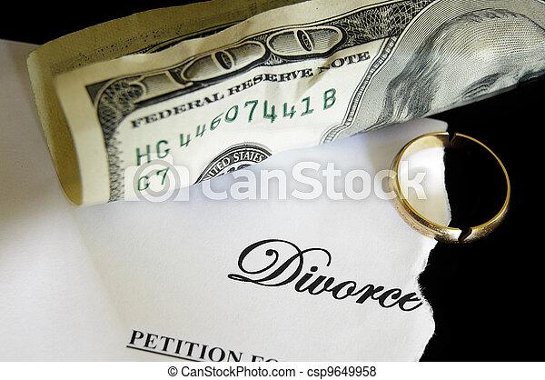 torn divorce decree and cash, with broken wedding ring - csp9649958