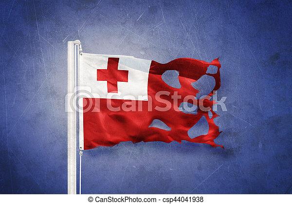 Torn flag of Tonga flying against grunge background - csp44041938