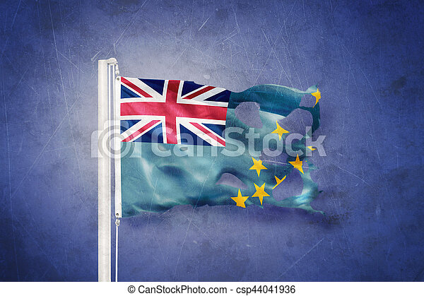 Torn flag of Tuvalu flying against grunge background - csp44041936