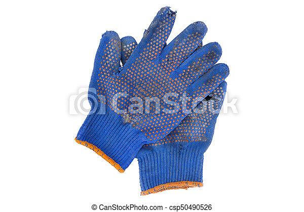 torn gloves blue - csp50490526