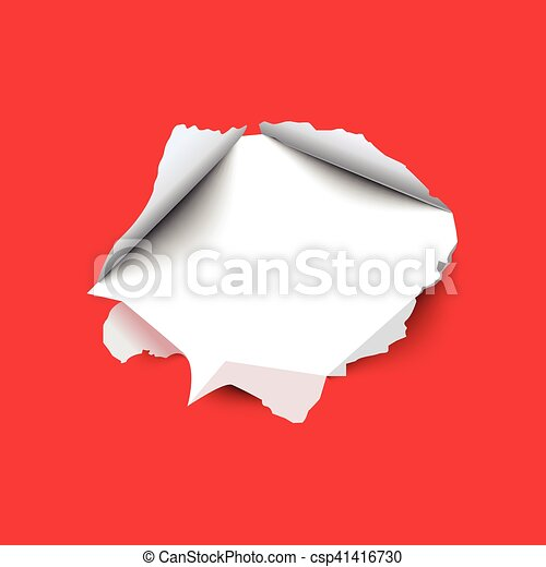 Torn hole in the sheet of red paper. Vector illustration. - csp41416730