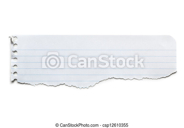 Torn Lined Paper Banner Isolated - csp12610355