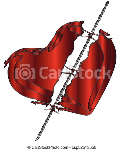 Torn love heart. A torn heart divided with barbed wire clipart ...