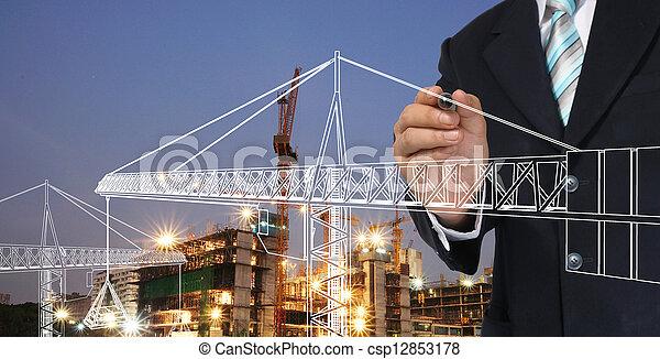 torn, man, kran, affär, teckning - csp12853178