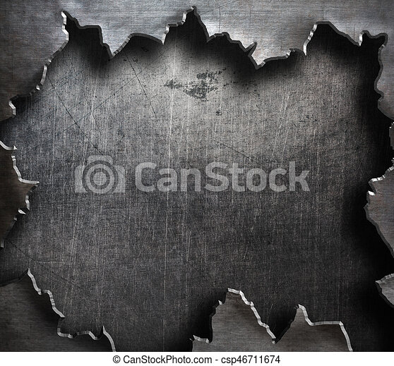 Torn Metal With Big Ripped Hole
