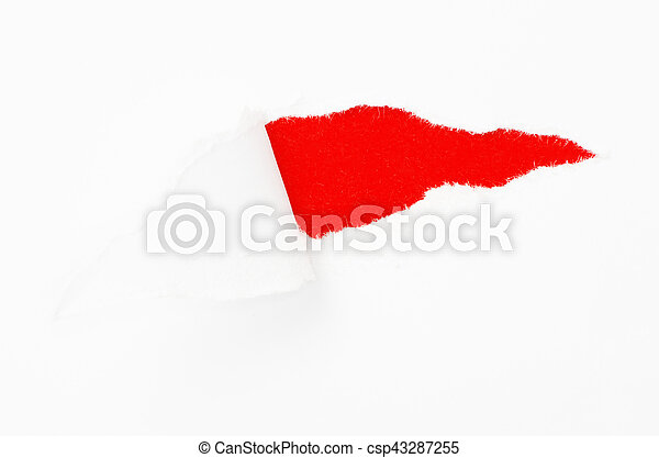 Torn paper banner, isolated on white - csp43287255