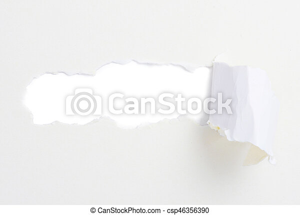 Torn paper banner, isolated on white - csp46356390