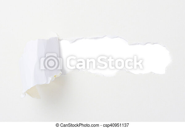 Torn paper banner, isolated on white - csp40951137