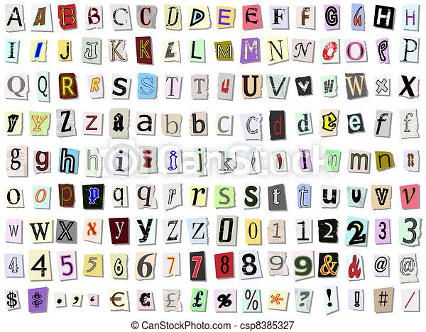 Torn paper font - csp8385327