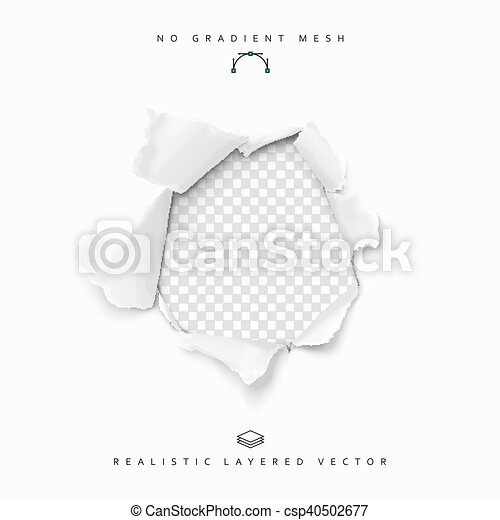 Torn paper realistic, hole in the sheet of papers on a transparent background. - csp40502677