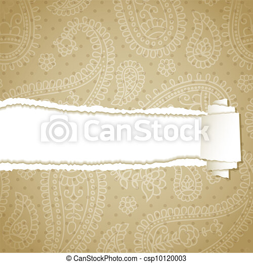 Torn paper with a paisley pattern - csp10120003