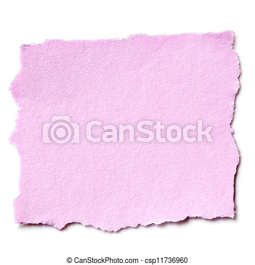 Torn Pink Paper Isolated - csp11736960