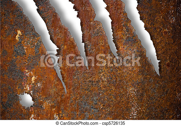 Torn rusty metal texture over white background - csp5726135