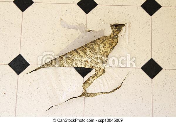 Torn Up Linoleum Floor - csp18845809