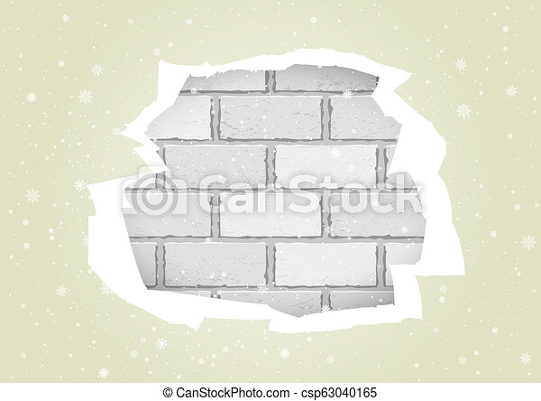torn white wallpapers brick wall - csp63040165