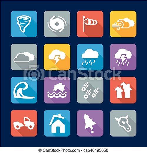 tornade, plat, conception, icônes - csp46495658