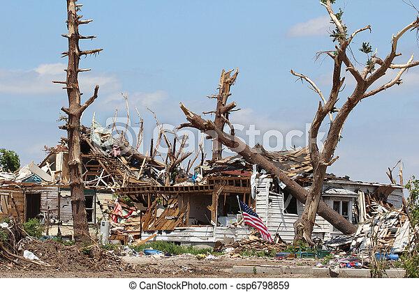 Tornado Damaged Home & Trees - csp6798859