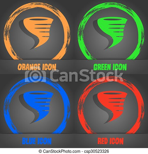 Tornado icon. Fashionable modern style. In the orange, green, blue, red design. Vector - csp30523326