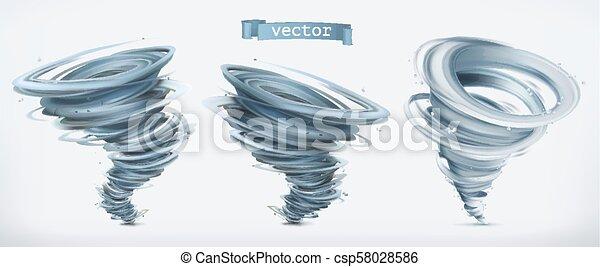 tornado., vettore, set, 3d, icona - csp58028586