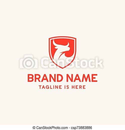 toro, protector, logotipo, icono - csp73883886