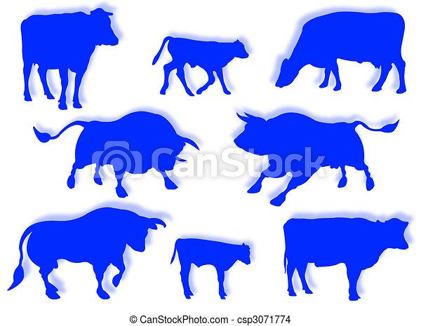Vaca, toro y ternera en silueta - csp3071774