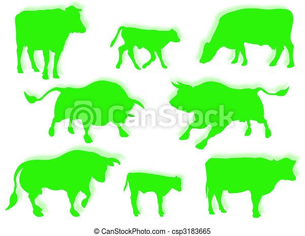 Vaca, toro y ternera en silueta - csp3183665