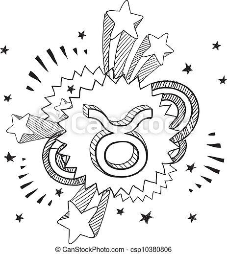 toro, zodiaco, schizzo - csp10380806