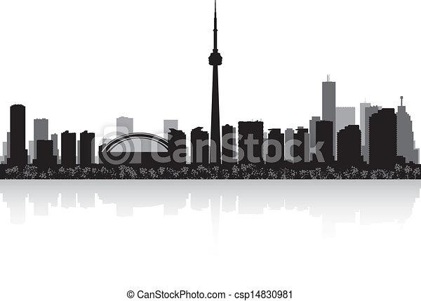 Line Art City : Toronto canada city skyline vector silhouette