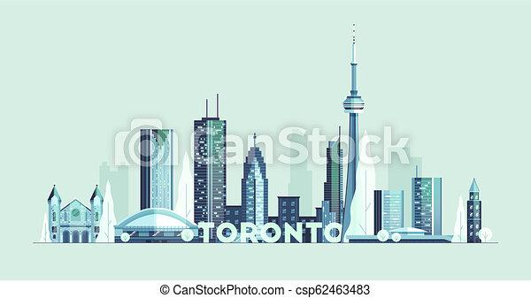 toronto, canada, silhouette, città, grande, orizzonte, vettore - csp62463483