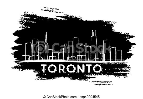 Silueta de horizonte de Toronto. Dibujo a mano. - csp49004545