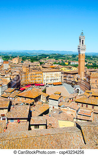 Torre del Mangia in ancient medieval historical centre of Siena - csp43234256