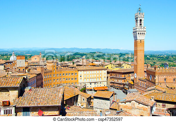 Torre del Mangia in ancient medieval historical centre of Siena - csp47352597