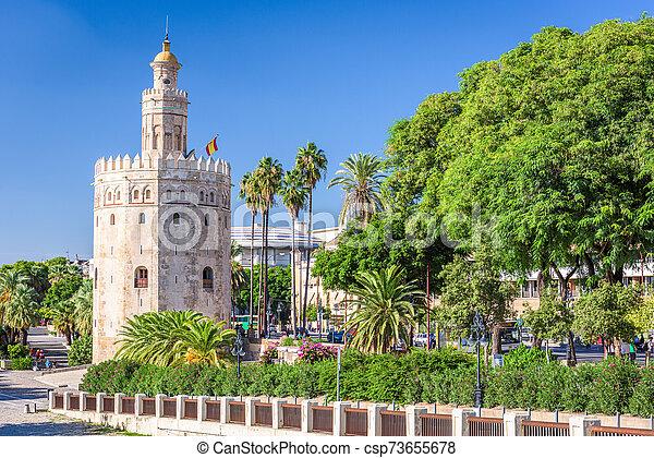 Torre del Oro in Seville, Spain. - csp73655678