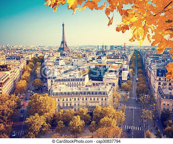 Vista en la torre Eiffel al atardecer - csp30837794