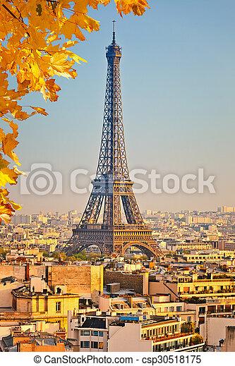 Vista en la torre Eiffel al atardecer - csp30518175
