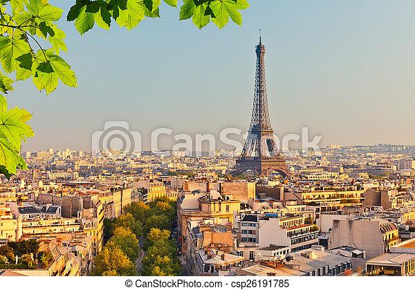 Vista en la torre Eiffel al atardecer - csp26191785