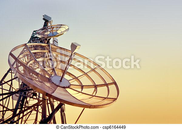 torre, pôr do sol, telecomunicações - csp6164449
