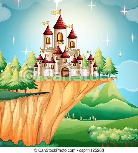 Torre Castle en el acantilado - csp41125288