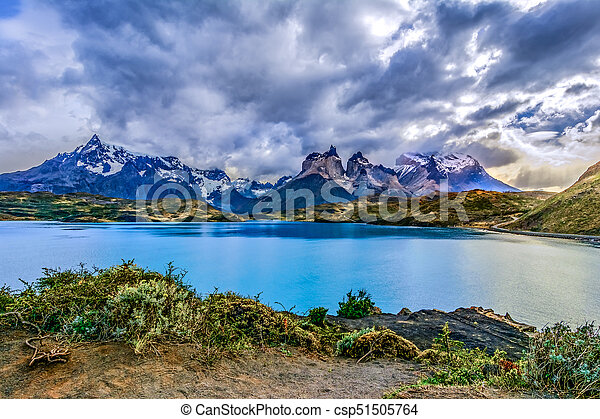 Torres del Paine over the Pehoe lake, Patagonia, Chile - Souther - csp51505764