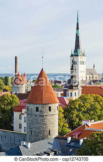 torres, fortificação, antigas, tallinn - csp12743705