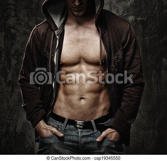 torso, hoodie, muscular, desgastar, elegante, homem - csp19345550
