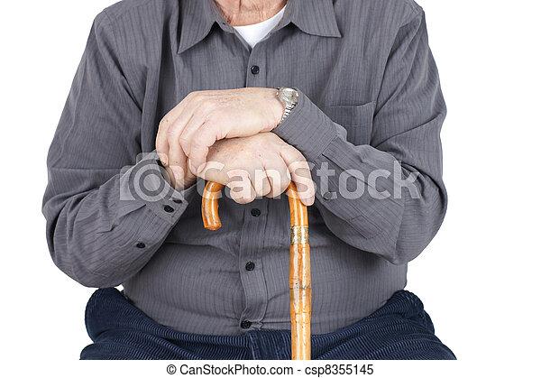 Torso of senior with cane - csp8355145