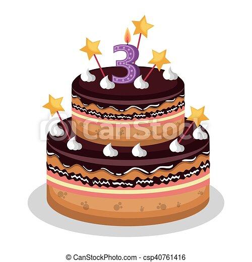 Torta Candela Compleanno Numero Felice Vettore Numero