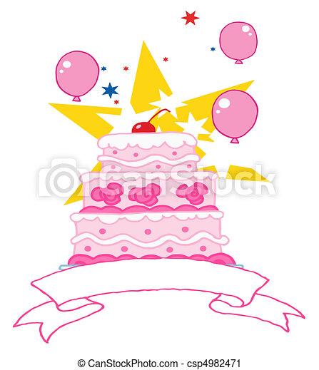 torta compleanno, ciliegia, rosa - csp4982471