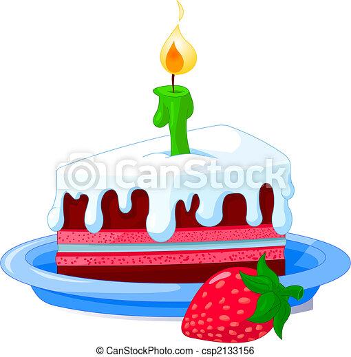 Torta Compleanno Fetta Illustration Piastra Vettore Torta