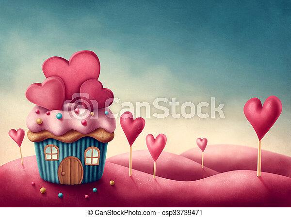 torta, fantasia, tazza, casa - csp33739471
