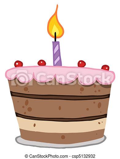 torta, luminoso, uno, candela compleanno - csp5132932