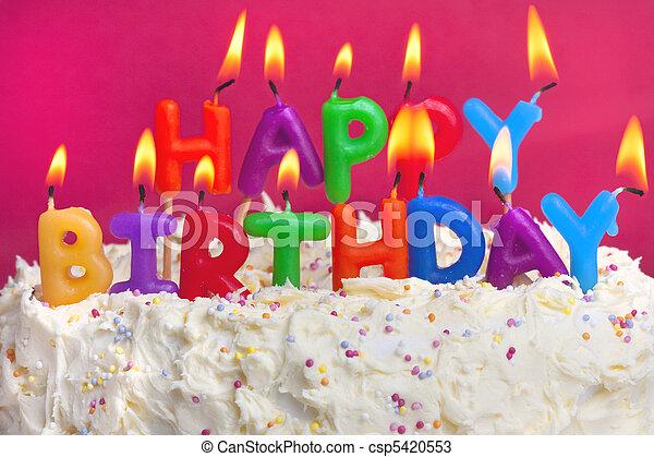 torta, születésnap, boldog - csp5420553